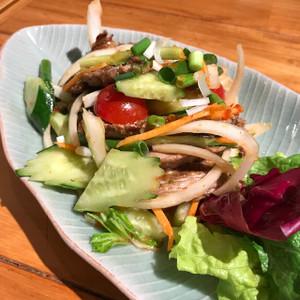 牛肉のグリルのスパイシーサラダ