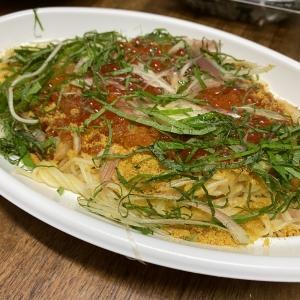 浅草開化楼特製パスタフレスカを使った天使の海老とズワイガニのトマトソース